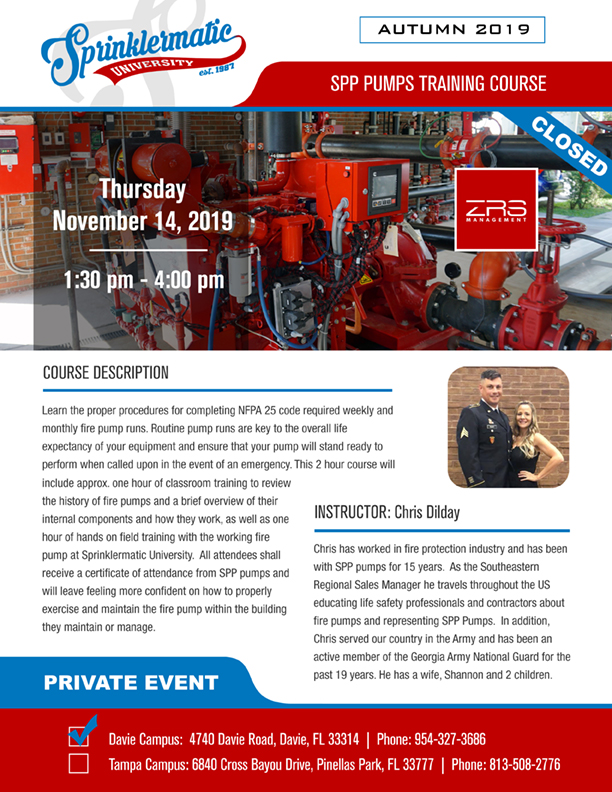 Nov 14 SPP Pumps with Chris Dilday (ZRS Management Class) @ Sprinklermatic University