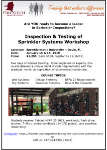 Inspection & Testing of Sprinkler Systems Workshop @ Sprinklermatic University